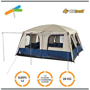 ... OZtrail-Dome-Tent-Lodge-Combo-12-Person-2-  sc 1 st  eBay & OZtrail Dome Tent Lodge Combo 12 Person 2 Roof Cabin with Awning ...