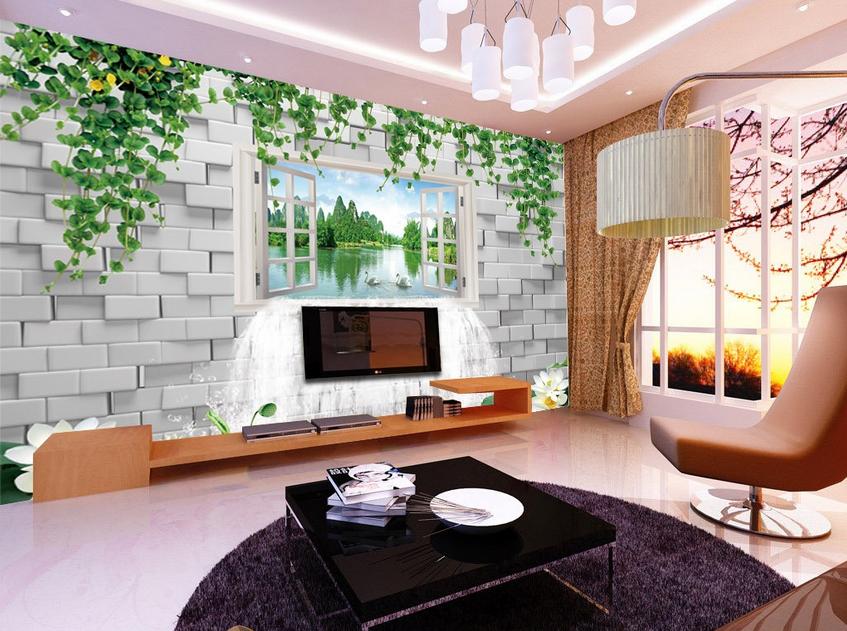 3D Fenster Lotus See 72 Tapete Wandgemälde Tapete Tapeten Bild Familie DE Summer