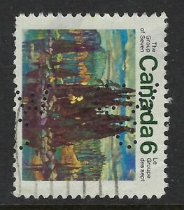 Perfin-C46-CW-C-1970-6c-Group-of-Seven-Issue-thin-518-2-Canadian-Westinghouse