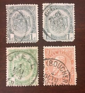 1893 Belgium Stamp Lot Coat Of Arms 1 Cent 5 Cent King Leopold Ii 10 Cent Ebay