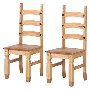 2x-Holz-Stuhl-Kiefer-massiv-Stuhlset-Landhaus-Esszimmer-Stuehle-Mexico-gewachst
