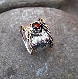 Garnet-Stone-Solid-925-Sterling-Silver-Band-Meditation-Statement-Ring-Size-M413