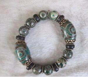 China-Tibetan-king-kong-eye-floer-dzi-amulet-agate-bracelet-can-scale-NO440