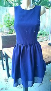 ASOS-Gorgeous-Blue-Beaded-Dress-with-Cut-Out-Back-Size-18-UK-BNWT-Small-Fault