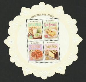 SINGAPORE-2019-TRADITIONAL-CONFECTIONS-COLLECTOR-039-S-SHEET-OF-4-STAMPS-IN-MINT-MNH