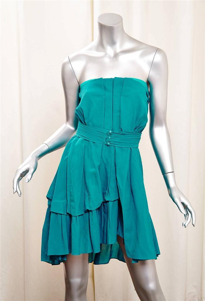 MIU MIU Womens Teal bluee-Green Cotton Strapless Pleated Belted Mini Dress 38 2