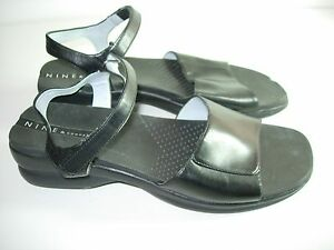 WOMENS-BLACK-LEATHER-COMFORT-SLINGBACK-SANDALS-CASUAL-HEELS-SHOES-SIZE-7-5-M