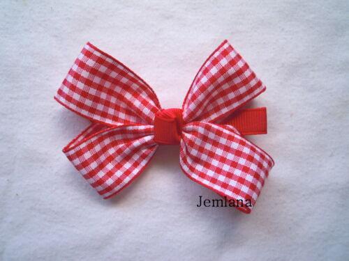 Check ribbons ..choose one Jemlana/'s handmade school hair clips/& ties