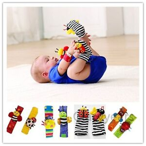 New-Baby-Infant-Soft-Toy-Developmental-Wrist-Strap-Foot-Socks-Rattle-Bug-Finders