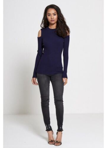 WOMENS LADIES LONG SLEEVE HIGH NECK RIBBED KNIT CUTOUT COLD SHOULDER TOP JUMPER