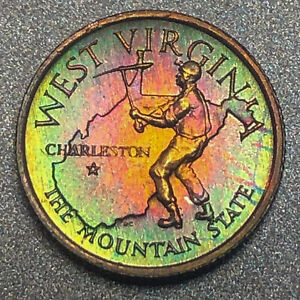 WEST-VIRGINIA-Proof-Franklin-Mint-Sterling-Silver-Mini-Coin-Rainbow-Toning