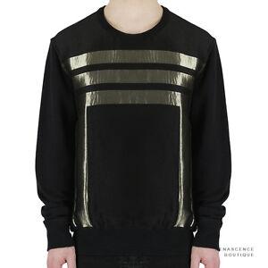 Alexander-McQueen-Black-Metallic-Gold-Block-Stripe-Detailed-Sweatshirt-L-IT50