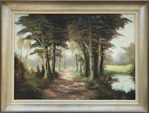 German-Impressionist-Sunny-Wooded-Area-Grove-Away-Lake-Oil-Painting-82X62