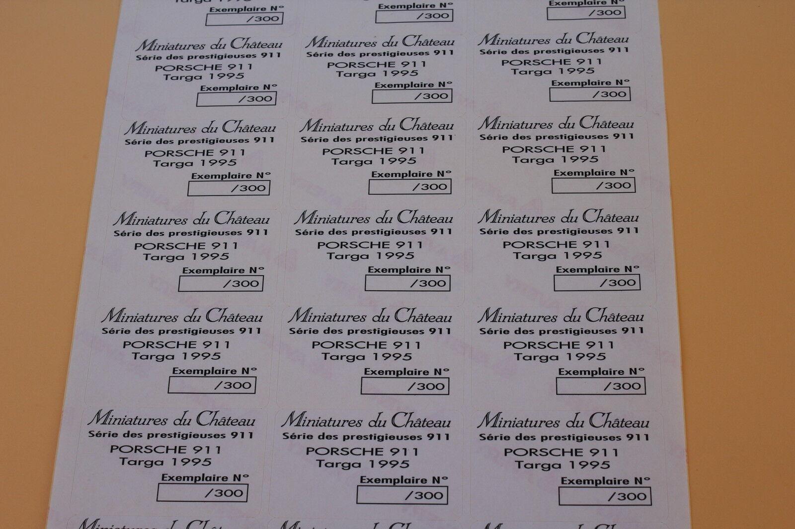 RDb 1 planche 21 21 21 ex étiquette Miniatures Château Porsche 911 targa 1995 Heco 5259d3