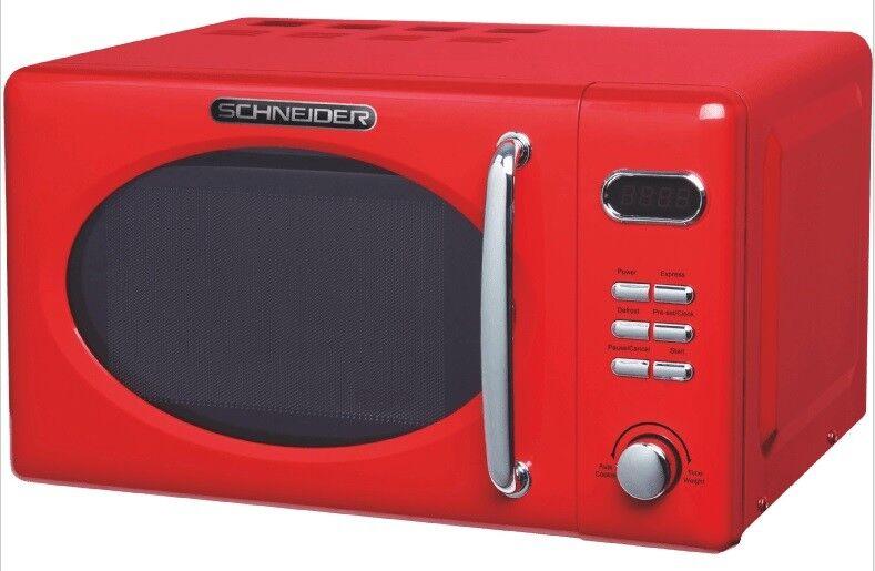 Microonde red Vintage Schneider Mw720 Fr Fuoco Cromo 700watt 20l   Nostalgie