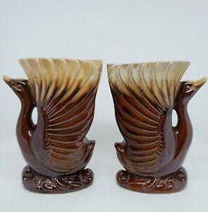 "Pair of Swan Vases/Planters Brown Drip Glaze Japan 6 "" Bird Mid Century Vintage"