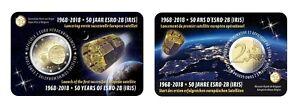 2-Euro-Gedenkmunze-BELGIEN-2018-Coincard-50-Jahrestag-Satelliten-ESRO-2B-NL