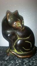 ART DECO EGYPTIAN STYLE BRONZE WAX ? CAST STATUE,  ANIMAL FIGURE SCULPTURE  CAT
