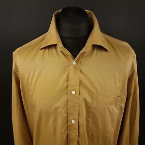HUGO-BOSS-Mens-Vintage-Shirt-43-17-XL-Long-Sleeve-Gold-Regular-Fit-Cotton