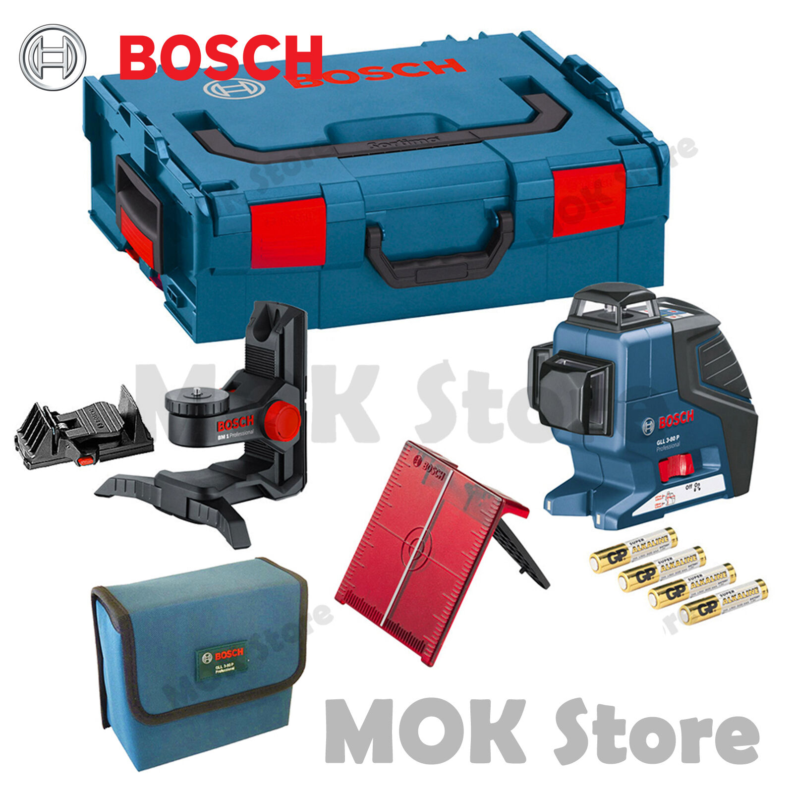 bosch gll3-80p 360° 3-plane leveling alignment line laser level