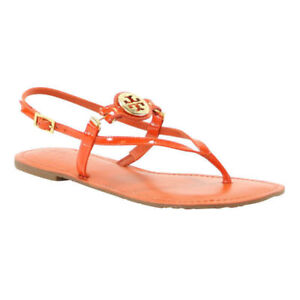 d021b78e3a0ab Image is loading NIB-Tory-Burch-Ali-Thong-Leather-Sandals-Orange-