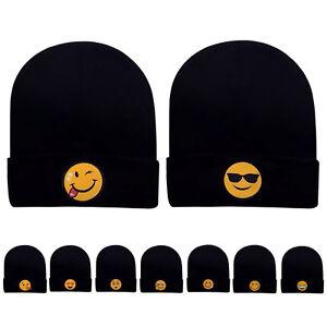 bd9dd5714fa Emoji Women Men s Beanie Knit Ski Cap Hip-Hop Fashion Winter Warm ...