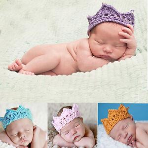 Heiß Neu Eingetroffen Neugeborenes Baby Stirnband Krone Tiara Häkeln