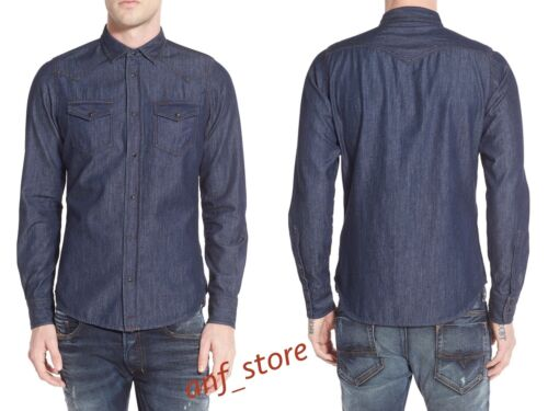 NWT DIESEL New Sonora Denim Jeans Western DARK Cotton Mens L//S Shirt M L XL $188