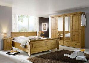 Details zu Massivholz Komplettes Schlafzimmer komplett Set Kiefer honig  Landhaus möbel