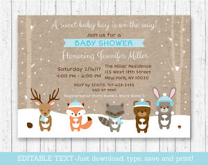 picture regarding Baby Shower Invites Printable titled Data above Wintertime Woodland Pets Kid Shower Invitation Printable Editable PDF
