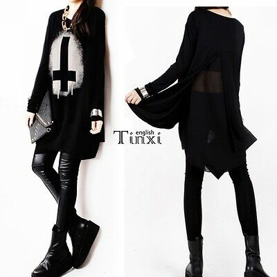European Style Goth Punk Long Shirt Inverted Cross Visual Kei Womens Tops TXEN