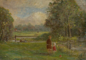 Early 20th Century Oil - Mother & Child in a Landscape