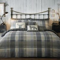 Just Contempo Brushed Cotton Tartan Duvet Cover Set Super King Grey