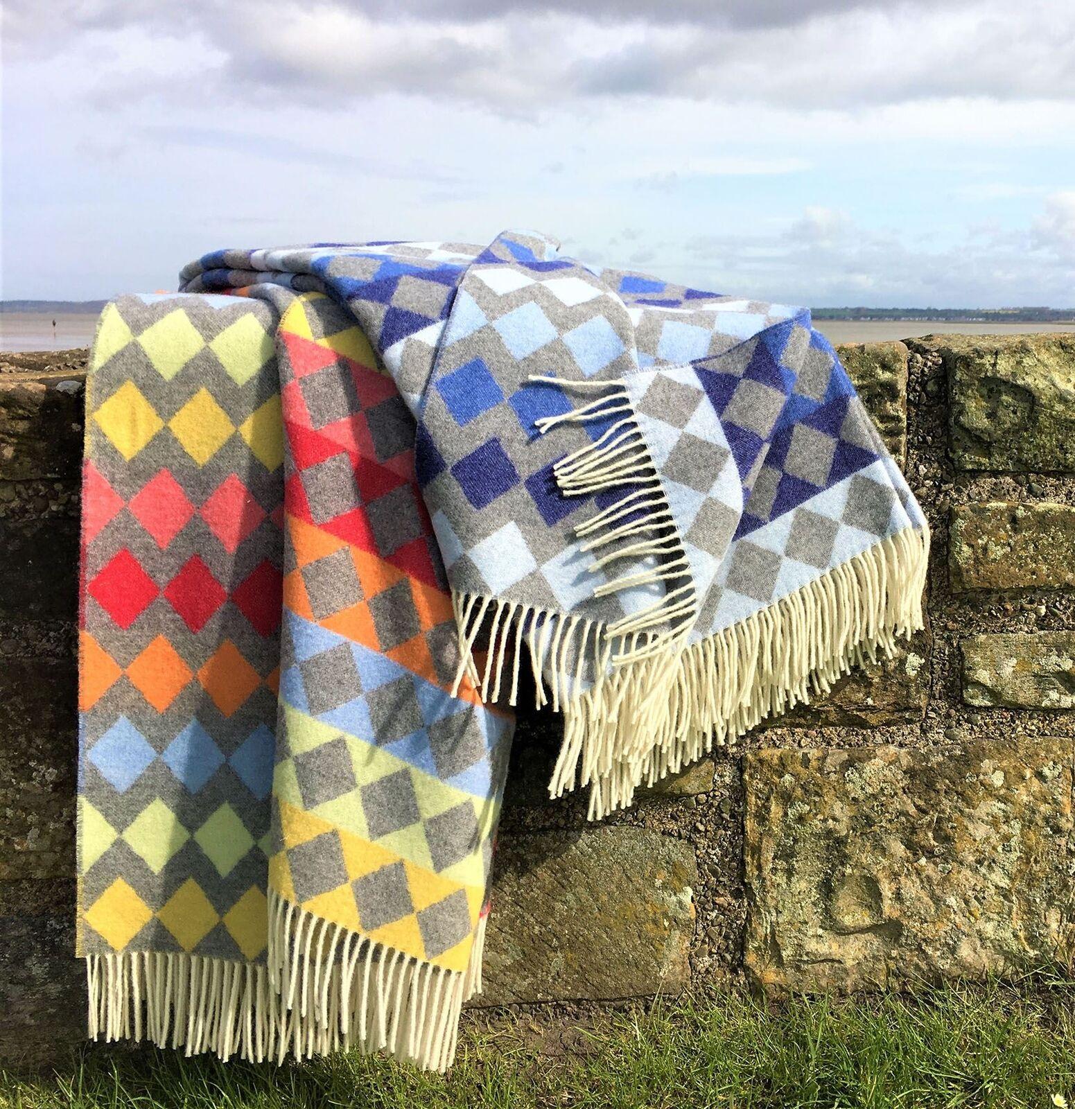 Tweedmill Diamond Merino Wool Blanket Throw in Lagoon bluee or Rainbow