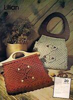 Lillian Wood Handle Macrame Handbag Pattern 1970s 7107 Purse Strings Vol. 2