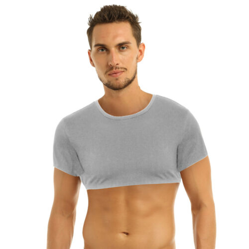 Men Muscle Tank Top Vest Round Neck T-Shirts Crop Tops Gym Sport Fitness Blouses