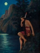 20x26 STILL WATERS Deco American INDIAN Maiden Maid GICLEE Pinup ILLUSTRATION