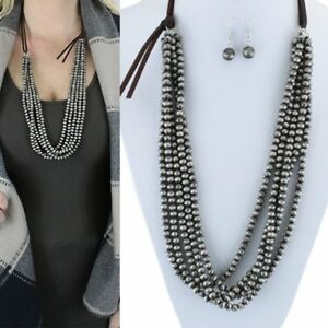 Western-Navajo-Style-Faux-Pearl-Pewter-Bead-Five-Strand-32-034-Long-Necklace-Set