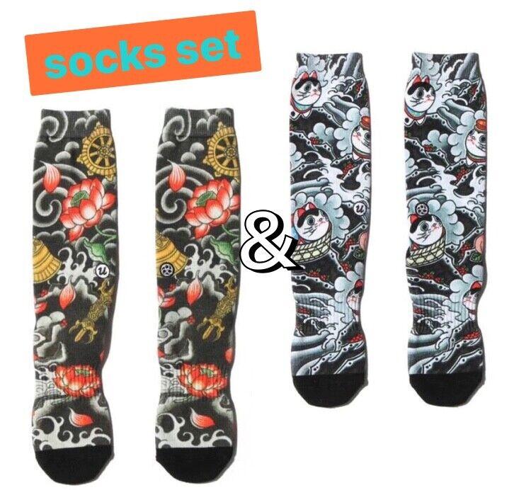 """THREE TIDES TATTOO × UBIQ """"IREZUMI"""" 2 Socks Set Foot wear Japanese Street Style"""