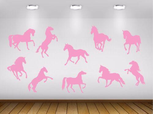 Set of 10 Horses Pony Ponies Vinyl Wall Stickers Decals