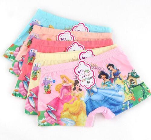 5pcs Princess Cartoon Enfants Fille Adorable Coton Sous-vêtements Boxer Shorts cadeaux