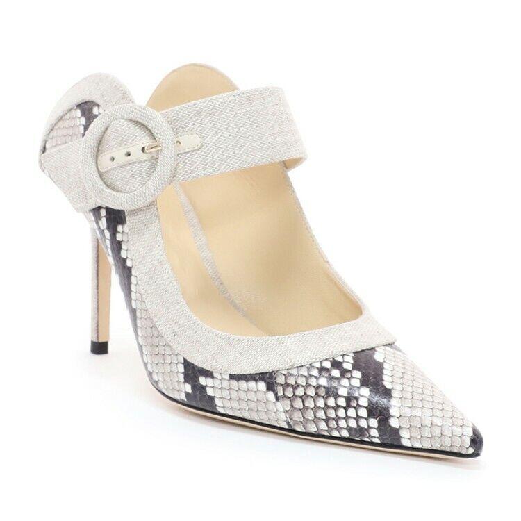 Fashion Women Pointy Toe Slip On shoes High Heel Muels Party Buckle Pump Slipper