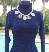 Cache Luxe $148 Velvet Krinkle Burn-out Top Stretch Turtleneck Xs/s/m/l