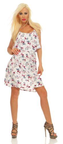 5498 Damen Mini Kleid Ärmellos Blumen Minikleid Sommerkleid Doublelayer