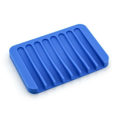 Bathroom Kitchen Silicone Soap Dish Holder Rack Tray Plate Saver Storage us W1K2