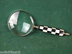 Haushalt Lupe Leselupe 10 cm Großes Echtglas Vergrößerungsglas Silberfarben Karo Griff