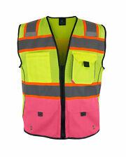 Kolossus High Visibility Safety Vest Multi Pockets Yellowpink Reflective