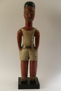 Statue-antique-tribal-African-Africa-Ivory-Coast-Colon-1950