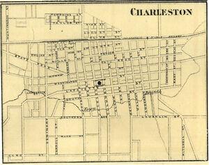 Charleston Illinois Coles Co IL 1876 Map Genealogy | eBay