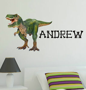 Dinosaur wall sticker kit with personalised name full for Dinosaur mural kit